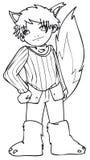 BW - Bambino di Manga con un costume del lupo Immagine Stock Libera da Diritti