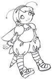 BW - Bambino di Manga con un costume dell'ape Royalty Illustrazione gratis