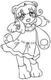 BW - Bambino di Manga con un costume dell'orso Illustrazione Vettoriale