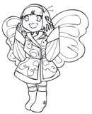 BW - Bambino di Manga con un costume della farfalla Fotografia Stock