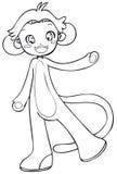 BW - Bambino di Manga con un costume della scimmia Immagine Stock