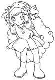 BW - Bambino di Manga con un costume delle pecore Illustrazione di Stock