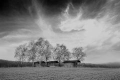 Bw barns landscape Royalty Free Stock Photos