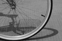 BW Bike Wheel. A Black and White close up of a bicycle wheel Stock Images