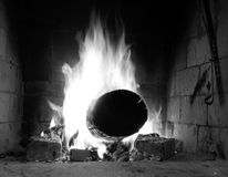 BW burning fire. Black and white image of fire in the fireplace Stock Image