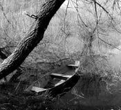 BW Canoe under the tree. Black and white image of canoe at the lake under the tree royalty free stock image