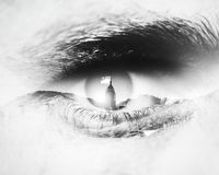 Bw close-up of human eye with visual effects Stock Photography
