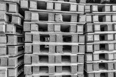 BW Close up Piles of pallet on business area Royalty Free Stock Photos