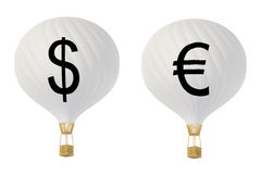 Bw currency hot air balloons: Dollar and Euro. Bw currency hot air balloons Royalty Free Stock Image
