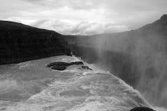 BW de la caída del agua de Gullfoss Foto de archivo libre de regalías