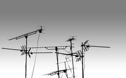 BW de las antenas de las antenas de la TV Imagenes de archivo