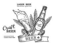 Bw dell'emblema della birra Fotografia Stock