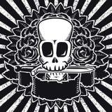 BW delle rose del cranio Immagine Stock