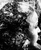 Bw double exposure Royalty Free Stock Images