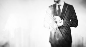 BW double exposure of young business man in the Royalty Free Stock Image