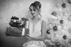 BW elegant female in christmas day Royalty Free Stock Photos