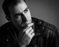 BW handsome man portrait Royalty Free Stock Images