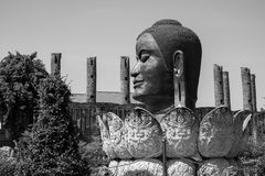 BW Head Buddha, Thailand. Famous Temple Stock Images