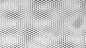 BW hexagridbakgrund med mjuka havsvågor royaltyfri illustrationer