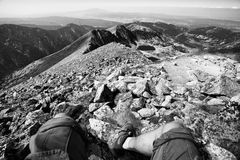 Bw hiker background Stock Photos