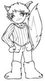 BW - Jong geitje Manga met een Kostuum van de Wolf Royalty-vrije Stock Afbeelding