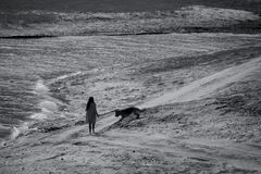 Bw lake and woman with dog Royalty Free Stock Photography