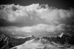 BW landscape. Black and white mountain landscape. Alps  summits Stock Photo