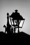 Bw lantern. Black and white old street lantern details, black lit silhouette technique Stock Images