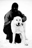 Bw man and dog Stock Images