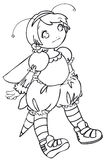 BW - Manga Kid with a Bee Costume. Little girl cosplaying a bee. Vectorial black and white lineart royalty free illustration