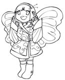 BW - Manga Kid with a Butterfly Costume. Little girl cosplaying a butterfly. Vectorial black and white lineart Stock Photo