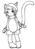 BW - Manga Kid with a Cat Costume. Little boy cosplaying a cat. Vectorial black and white lineart Royalty Free Stock Image
