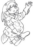 BW - Manga Kid with a Fish Costume. Little girl cosplaying a fish. Vectorial black and white lineart Stock Image