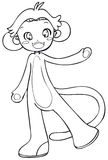 BW - Manga Kid with a Monkey Costume. Little boy cosplaying a monkey. Vectorial black and white lineart Stock Image
