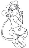 BW - Manga Kid with a Mouse Costume Stock Images