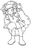 BW - Manga Kid with a Sheep Costume. Little girl cosplaying a sheep. Vectorial black and white lineart Stock Photo
