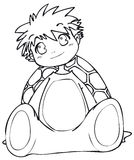 BW - Manga Kid with a Turtle Costume. Little boy cosplaying a turtle. Vectorial black and white lineart Royalty Free Stock Photography