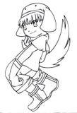 BW - Manga Kind mit einem Wolf-Kostüm Stockbild
