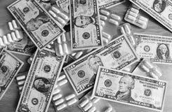Bw medical preparations and dollars Royalty Free Stock Image