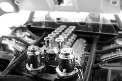 BW miniature engine. Photo of an engine in a miniature car Stock Images