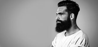 BW mock up of beard and mustache man Royalty Free Stock Images