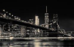 BW photo Brooklyn Bridge and Manhattan Skyline Night, New York City Stock Photography