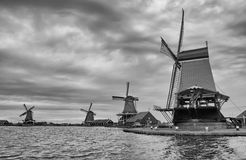 BW photo of Dutch windmills Stock Photos