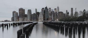 BW photo New York City manhattan buildings skyline evening taken. BW photo New York City manhattan buildings skyline evening Royalty Free Stock Photography