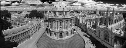 Bw photo of panoramic, aerial view of oxford Stock Photo