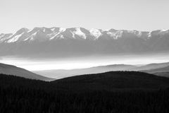 Bw Pirin panorama. Black and white mountain background, Pirin mountain in Bulgaria panoramic view Royalty Free Stock Photography