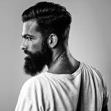 Bw portrait of a bearded brutal guy Stock Photo
