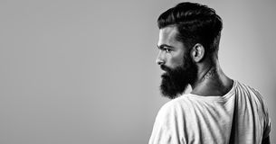 Bw portrait of a bearded brutal man Stock Photo