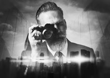 BW portrait of bearded gentleman makes the photo Royalty Free Stock Photo
