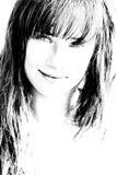 Bw portrait of beautiful girl Stock Photo
